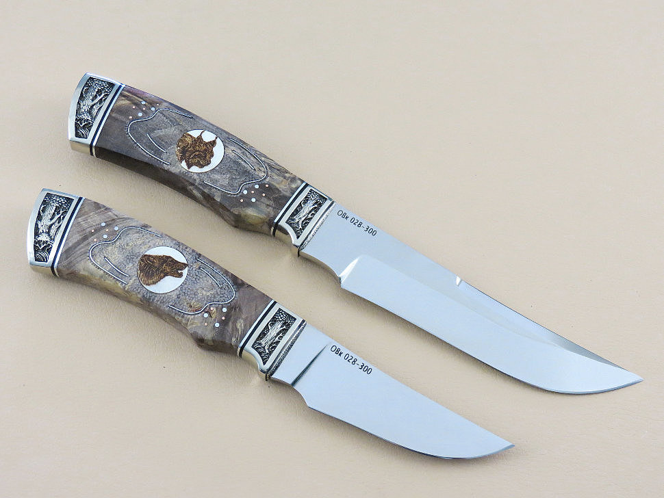 Ножевая спарка «КАБАНЬЯ-1» Х12МФ, кап клена, рог, скрим-шоу, инкрустация, декор «Дубрава» : нож «КЛЫК», нож «КЛЫЧЁК»