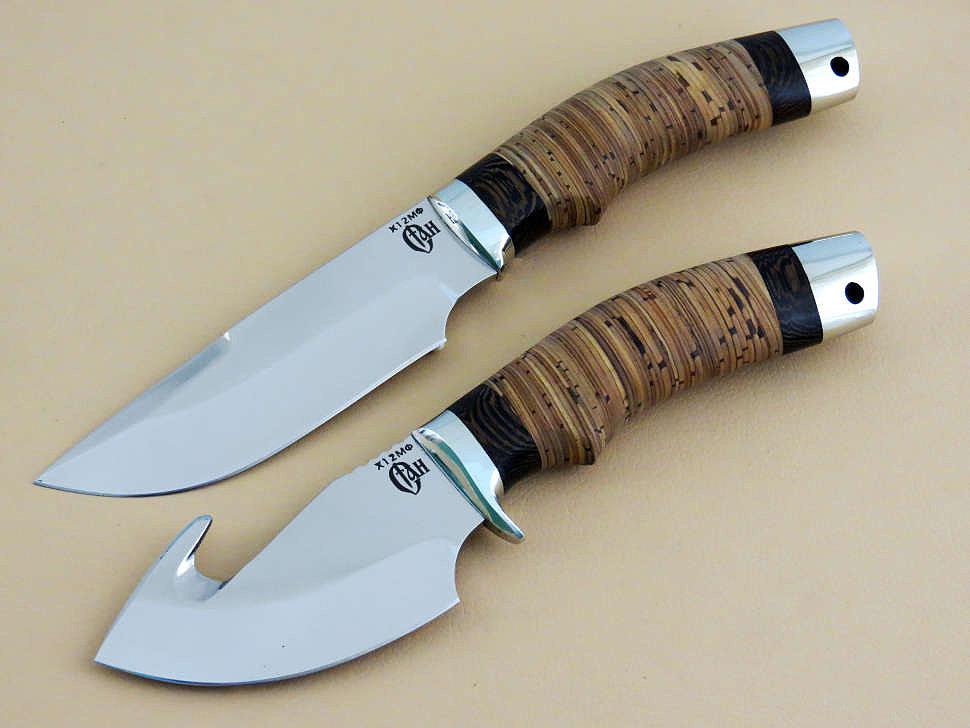 Ножевая спарка «ЛОСИНАЯ-1» Х12МФ, береста, венге