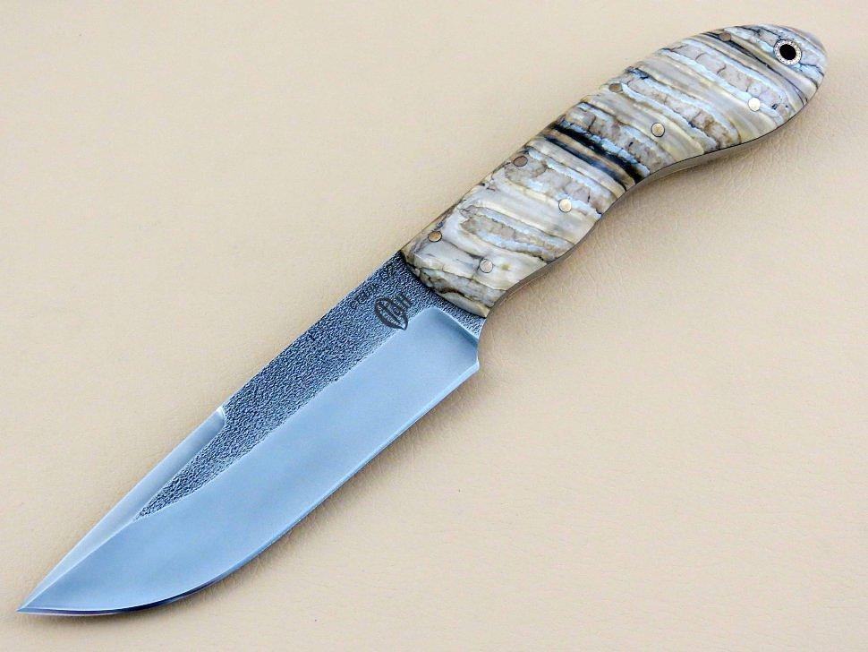 Охотничий нож «ЛОСЬ» цельнометаллический, D2, зуб мамонта